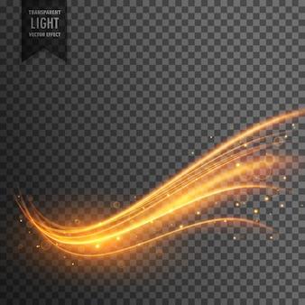 Stijlvol transparant licht effect in golvende vorm met een spoor en sprankel