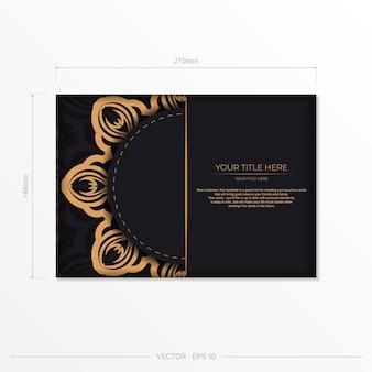 Stijlvol vector briefkaart ontwerp in zwarte kleur met vintage patronen. stijlvolle uitnodigingskaart met grieks ornament.