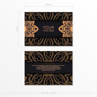 Stijlvol vectorontwerp van ansichtkaart in zwarte kleur met vintage ornament. stijlvolle uitnodigingskaart met griekse patronen.