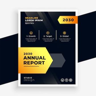 Stijlvol zwart en geel jaarverslag flyer sjabloonontwerp