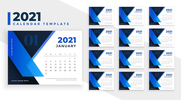 Stijlvolle 2021 kalendersjabloon in blauwe geometrische vormen stijl