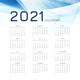 Stijlvolle 2021 nieuwjaarskalender moderne sjabloon