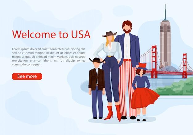 Stijlvolle amerikaanse familie. advertentiekaart usa.