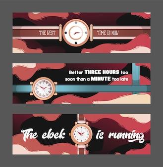 Stijlvolle banners met horloges vectorillustratie. tijd beheer concept