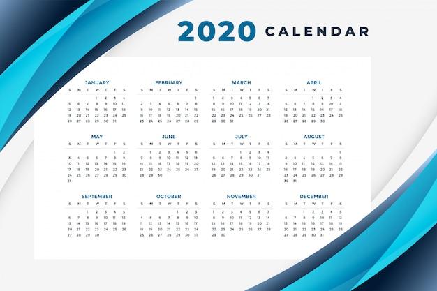 Stijlvolle blauwe 2020 kalender lay-out sjabloon