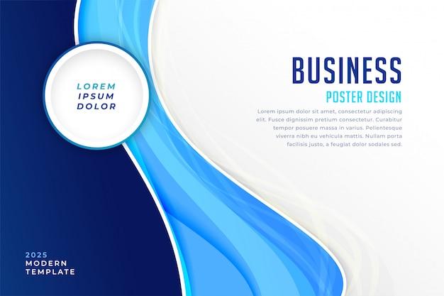 Stijlvolle blauwe moderne busienss presentatiesjabloon