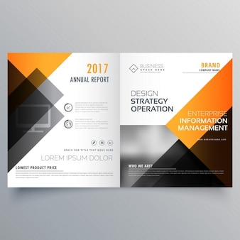 Stijlvolle boekje brochure template design met jaarverslag en geel en zwart vormen