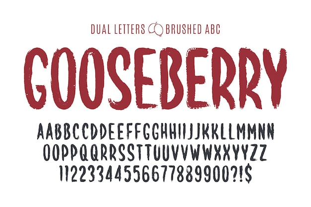 Stijlvolle borstel schilderde een hoofdletters vector dubbele letters, alfabet, lettertype. originele verftextuur.