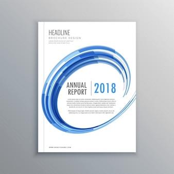 Stijlvolle brochure flyer design template met blauwe werveling