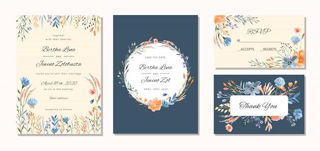 Stijlvolle bruiloft uitnodiging met bloemen aquarel achtergrond