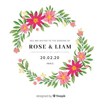 Stijlvolle bruiloft uitnodiging met bloemen frame