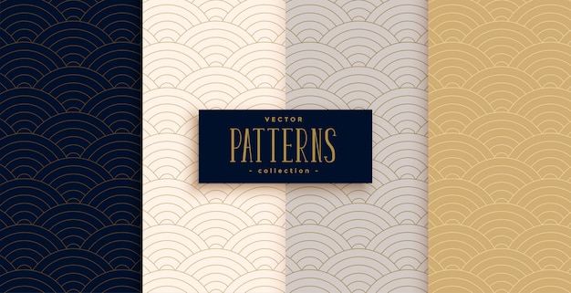 Stijlvolle chinese traditionele kromme lijnen patroon set