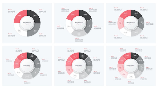Stijlvolle cirkeldiagram cirkel infographic sjablonen