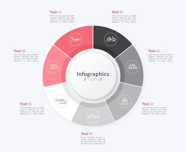 Stijlvolle cirkeldiagram cirkel infographic sjabloon