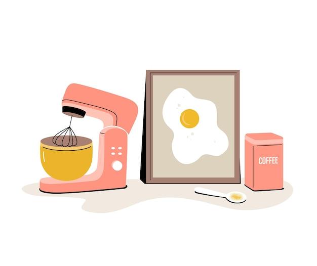 Stijlvolle compositie met een planetaire mixer blikje koffie een lepel en een foto met roerei
