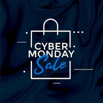 Stijlvolle cyber maandag verkoop boodschappentas ontwerp banner