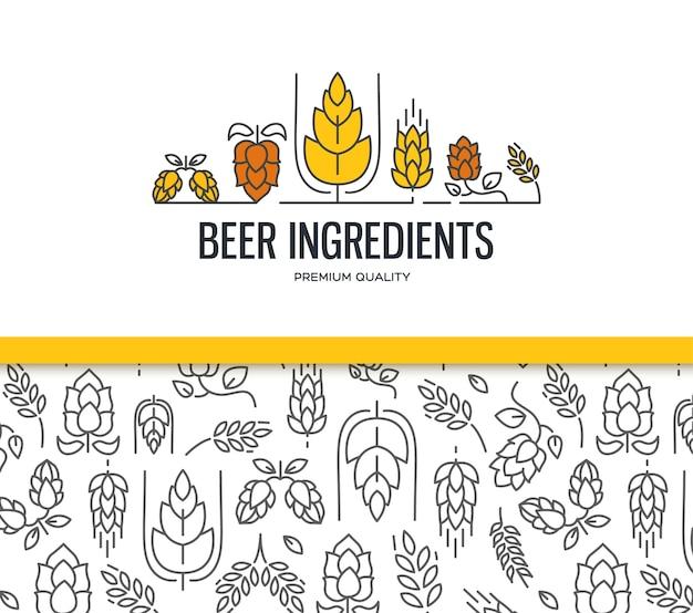 Stijlvolle designcollectie met twee velden met naadloos moutpatroon en met de tekst bieringrediënten met een takje hop, bloesem, mout