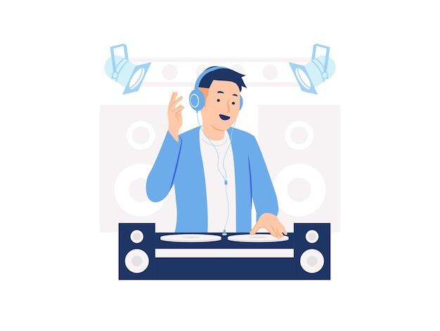 Stijlvolle diskjockey dj met koptelefoon afspelen van muziek op een dj mixer concept illustratie