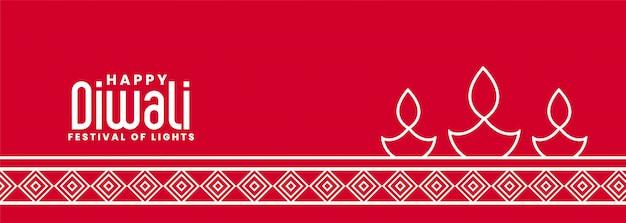 Stijlvolle diya lamp rode diwali banner in lijnstijl