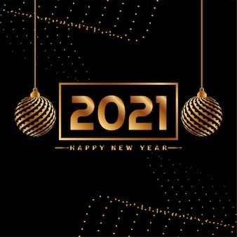 Stijlvolle gelukkig nieuwjaar 2021 gouden elementen achtergrond