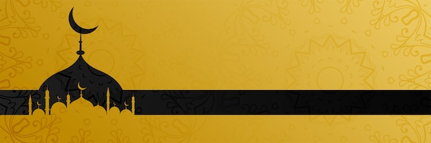 Stijlvolle gouden moskee ontwerp islamitische banner