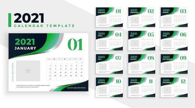 Stijlvolle groene 2021 nieuwjaarskalender ontwerpsjabloon