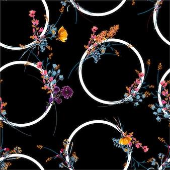 Stijlvolle handgetekende en geschilderde weide bloemen met geometrische cirkel naadloze patroon