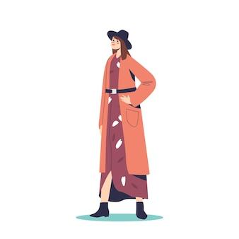 Stijlvolle herfstoutfit voor moderne vrouwen: jonge vrouw met hoed, jurk en vest voor herfstwandeling buitenshuis. trendy meisje in mode kleding. cartoon platte vectorillustratie