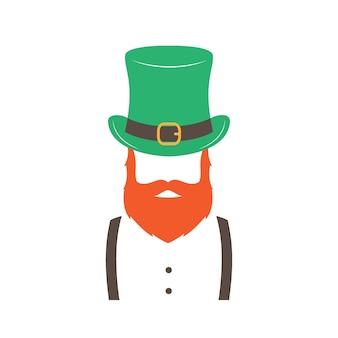 Stijlvolle ier met gemberbaard die hoed draagt
