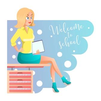 Stijlvolle jonge mooie leraar in elegante kantoorkleren. cute cartoon meisje met documenten in de hand. illustratie op de witte achtergrond, ideaal voor elk doel.