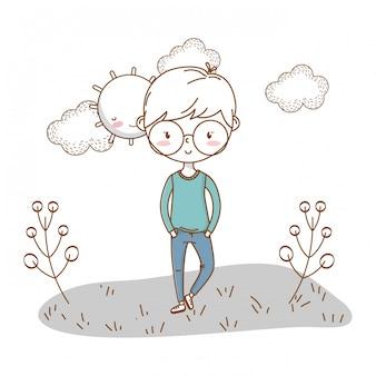 Stijlvolle jongen cartoon outfit aard wolken