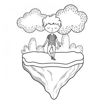 Stijlvolle jongen cartoon outfit natuur frame zwart en wit