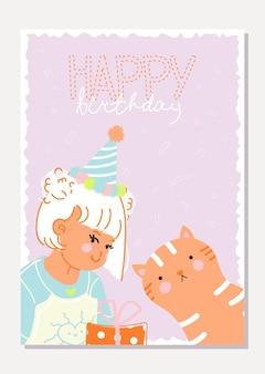 Stijlvolle kaart met een schattig meisje en een grappige kat gefeliciteerd met je verjaardag in