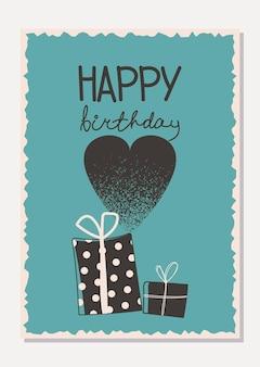 Stijlvolle kaart met geschenken, glazen champagne en een hartvorm gelukkige verjaardagswenskaart