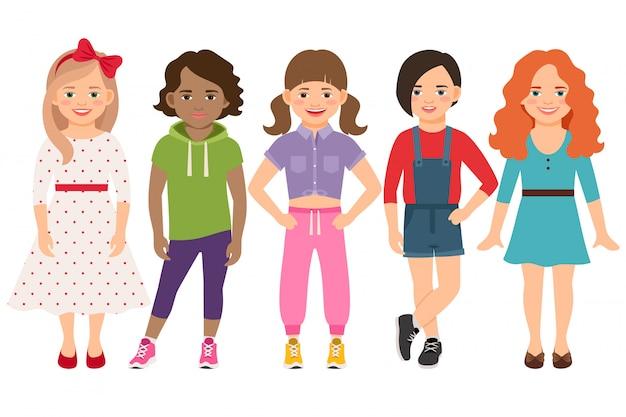Stijlvolle kind meisjes vector illustratie. blonde en brunette, bruin haar en roodharige meisje set geïsoleerd