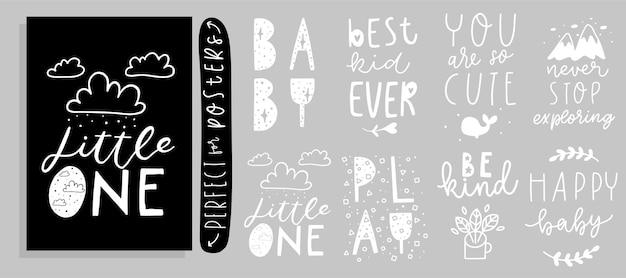 Stijlvolle kinderzinnen met de hand getekende letters met schattige details en textuurkaarten set
