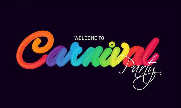 Stijlvolle kleurrijke belettering van carnaval-feest op zwarte achtergrond