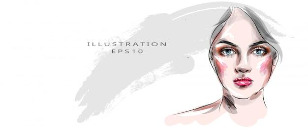 Stijlvolle kunstschets. hand getrokken glamour jonge vrouw gezicht make-up met mooie ogen. delicate illustratie in pasteltinten.