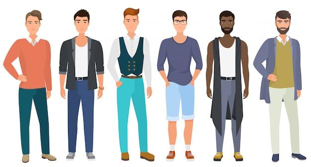 Stijlvolle mannen gekleed in moderne casual mode mannelijke stijl kleding. cartoon plat.