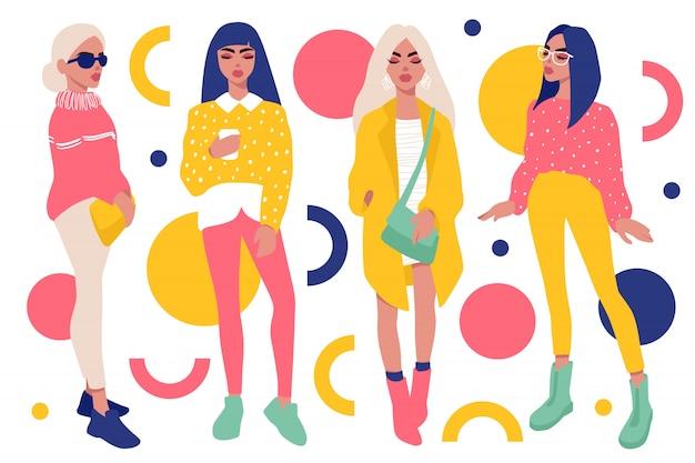 Stijlvolle meisjes in trendy kledingpakket