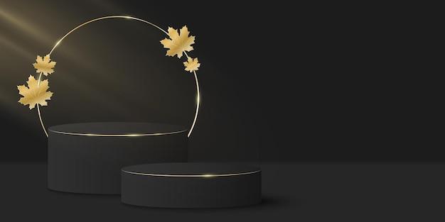 Stijlvolle minimale scène en gouden cirkel met gouden herfstblad. 3d-podium of podium. lichtstraaleffect.
