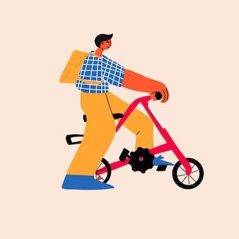 Stijlvolle moderne illustratie van een jonge man die op zijn a-fiets rijdt en geniet van de rit moderne stijl