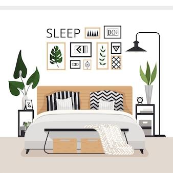 Stijlvolle moderne slaapkamer in scandinavische stijl. minimalistisch gezellig interieur met lades, bed, schilderijen, vloerkleed en planten.