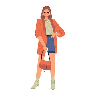 Stijlvolle moderne vrouw in mode kleding geïsoleerde platte stripfiguur vector modieuze dame