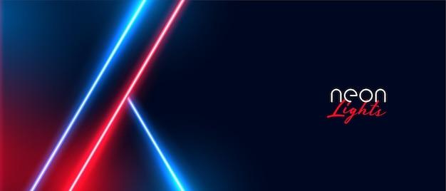 Stijlvolle neonlichtenachtergrond met rode en blauwe kleur