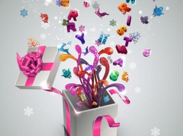 Stijlvolle nieuwe jaar geschenk achtergrond vector set