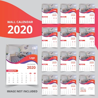 Stijlvolle nieuwe jaarkalender voor 2020