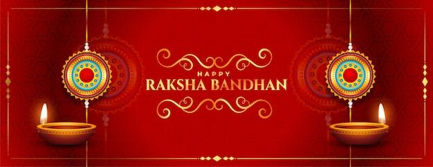 Stijlvolle rode gelukkig raksha bandhan traditionele festival banner