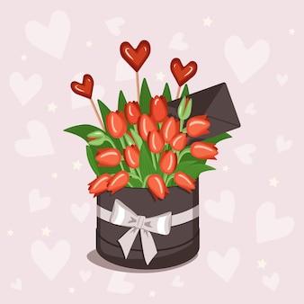 Stijlvolle ronde doos met een sticker voor tekst met rood geel wit roze tulpen hartjes en enveloppen voor...