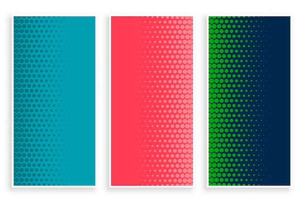 Stijlvolle set halftone banners in drie kleuren